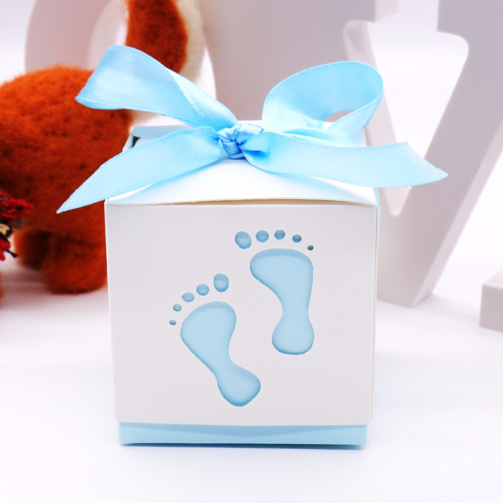 10pcs Baby Shower Baby Foot Candy Box Laser Cut-out Baby Shower Favor Gift Candy Box Gift Boxes For Boy Girl Birthday Party
