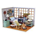 Handmade Doll house furniture miniatura diy doll houses miniature dollhouse wooden toys for children birthday gift V07