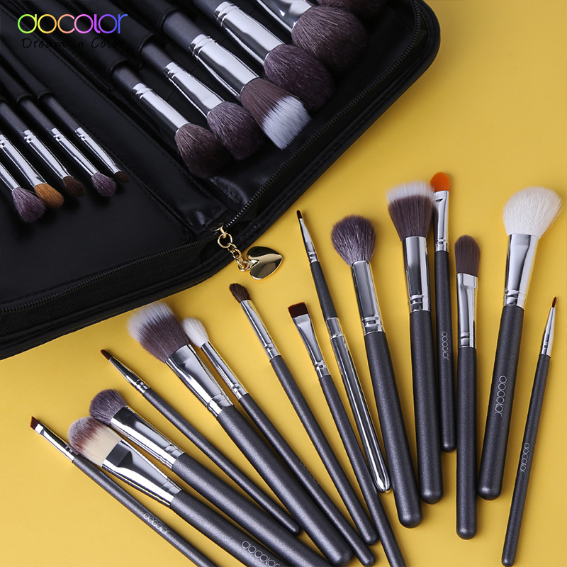 Docolor 29 STKS Make-up Penselen Set Geitenhaar Borstel Ponyhaar Synthetisch Haar Stichting Poeder Cosmetisch Make-up Borstel Met PU Zak