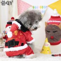 QY XMAS GIFT Clothes For Dog Clothing Puppy Pet Apparel Red Catoon Father Christmas Dog Jumpsuits