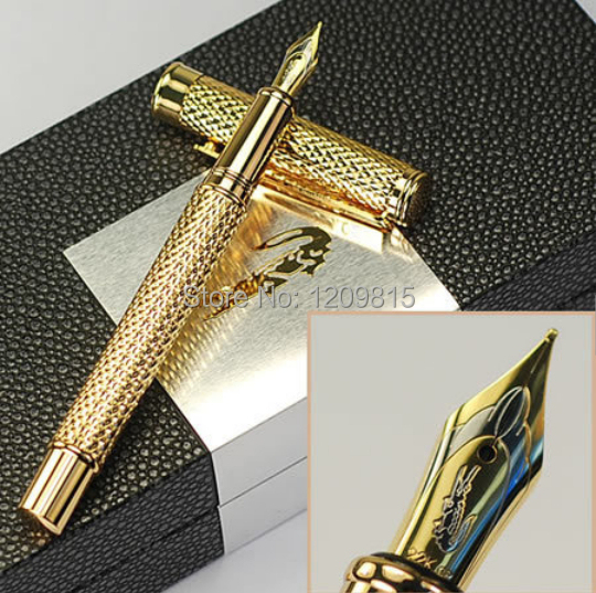 Stationery office business Supplies Luxury Crocodile 218 full golden raised fountain pens metal writing brand ink pen for gift hero 310b metal fountain pen