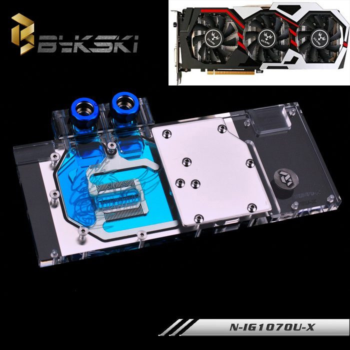 BYKSKI Full Cover Graphics Card Water Cooling Block use for COLORFUL GTX1070/1060 Flames of War Gods U-8GD5 TOP RGB GPU Radiator bykski multicol water cooling block cpu radiator use for amd ryzen am3 am4 acrylic cooler block 0 5mm waterway matel bracket