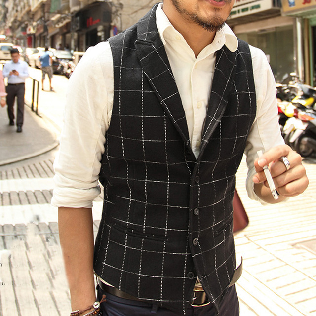 Gilet Men slim fit suit Sleeveless Jacket Lapel Plaid Waistcoats men Casual Woolen Vest Waistcoats brand autumn Suit Vest