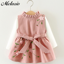 где купить Melario Baby Dresses 2017 New Spring Autumn Baby Girls Clothes Carrot Printing Girls Party Dress Princess Dress Newborn Dress дешево