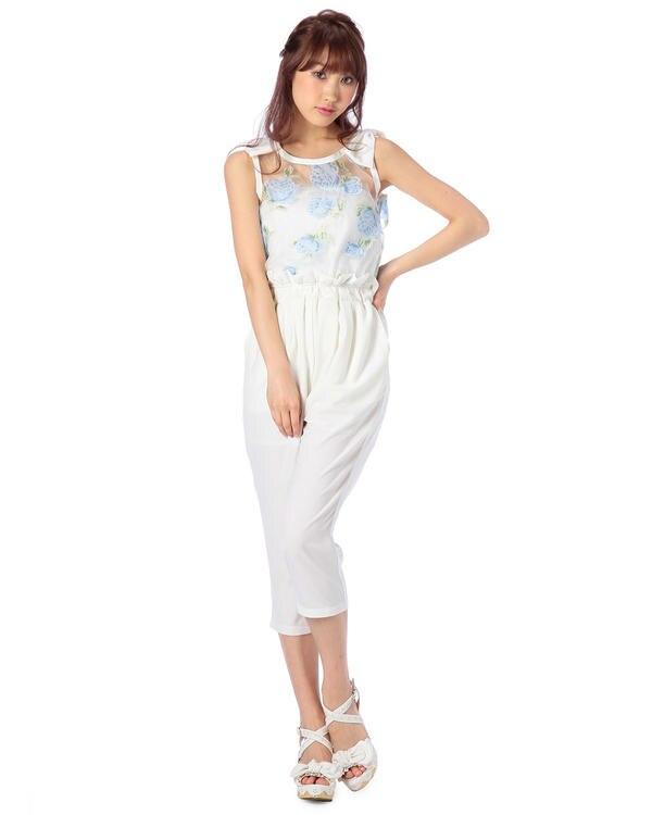 Japan liz lisa organza flower printing Capri pants jumpsuit
