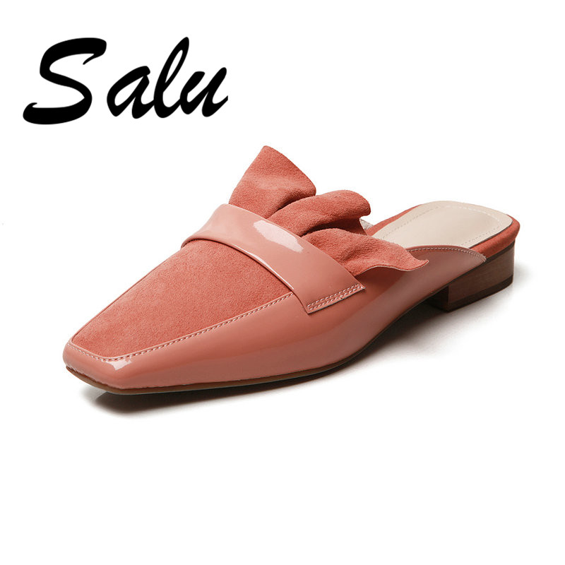 Salu New Fashion Women Pointed Toe Shoes High Quality Genuine Leather Shoes Back Strap Square Shoes for SummerSalu New Fashion Women Pointed Toe Shoes High Quality Genuine Leather Shoes Back Strap Square Shoes for Summer