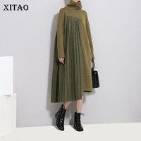 [XITAO] Europe Fashion Women Turtleneck Full Sleeve Loose Dress Female Patchwork Knee length Casual Asymmetrical Dress LJT4190