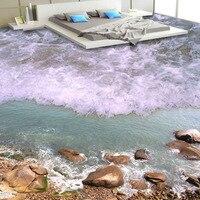 Custom 3D Floor Wallpaper Sea Beach Ocean Waves Stone Bedroom Bathroom Floor Mural Painting Self Adhesive