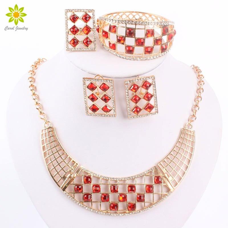 be83be50bad4 Juegos de joyería para las mujeres collar Pendientes pulsera Anillos Sets  fina Africana Cuentas partido colgante Accesorios de boda