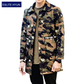 2017 Nova Chegada de Moda masculina Camuflagem Trincheira Dos Homens De Alta Qualidade Dos Homens homens do Revestimento de Trincheira dos homens Outerwear Jaqueta Fina
