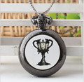 Hot The series movie Harry Potter Hogwarts Hufflepuf College Holy Grail Pocket Watch Necklace&pendant best Christmas gift H0018