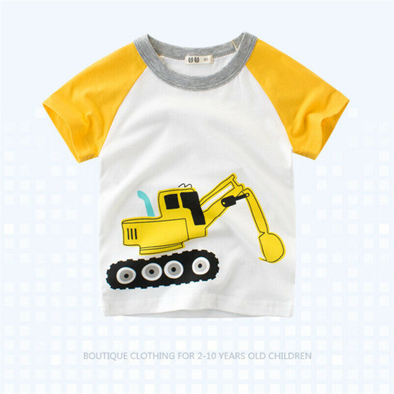 Boys T-Shirt cartoon Short-Sleeve Excavator-Pattern Print Comfortable Cotton Casual Summer