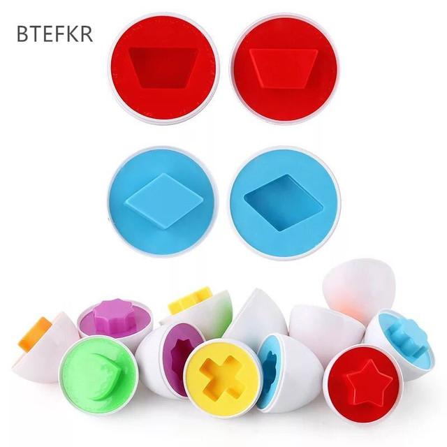 6pcs/set Kids shape recognize matching toys puzzle 3D Puzzle educational colorful eggs toys for Infant Juguetes educativos