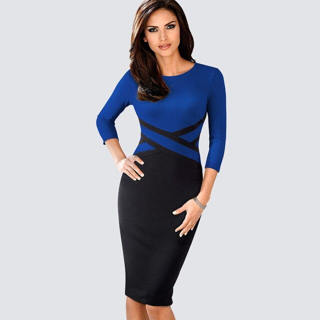 Autumn Women Elegant Patchwork Sheath Bodycon Work Office Business Pencil Dress 2