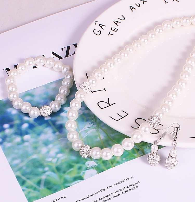 2019 Hot Fashion Bride Wedding Banquet Simulated-pearl Luxury White Crystal Ball Necklace/Earrings/Bracelet Women Jewelry Set
