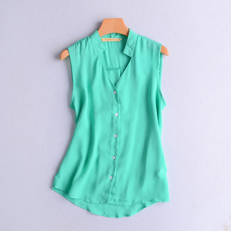 Women Spring Green V-neck Sleeveless Blouse Women SEXY Chiffon Shirts Tops S M L