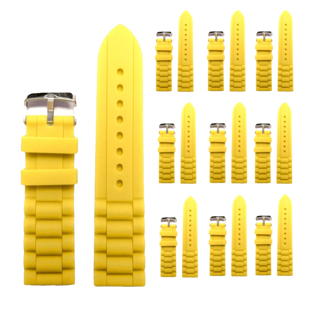 Wholesales 10PCS. 22mm Simple Yellow Silicone Jelly Rubber Unisex Watch Band Straps WB1002C22JB