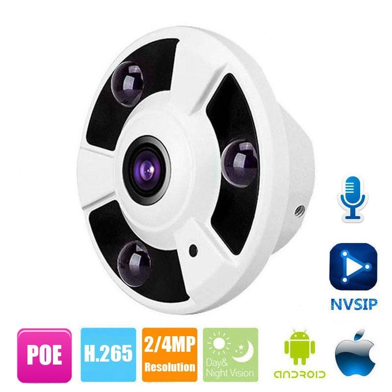 2MP 4MP IP Camera POE With Audio Pick Up Onvif 1 8mm Fisheye Lens IR Night