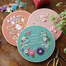 Europe DIY Ribbon Embroidery Beginners Set Pre-Printed Floral Pattern Cross Stitch Wall Painting Art Kits with Embroidery Hoop(China)