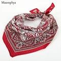 Tendencias Moomphya 2017 Resorte Superior Estilo de La Calle de Vermillion Red Patrón de pañuelos Bandanas Impresión Revival de Los Años Setenta