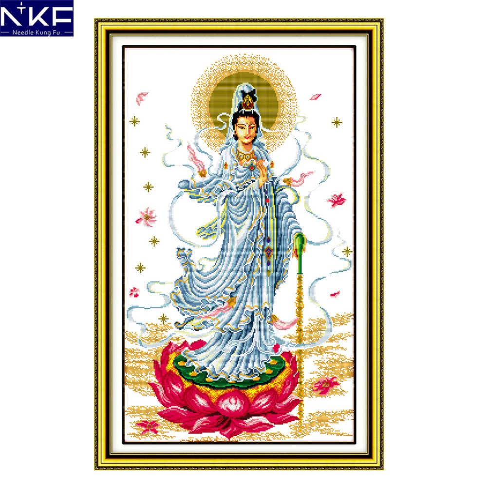 Nkf観音刻印クロスステッチ宗教刺繍キット11ctカウントdiyキット中国クロスステッチの絵画家の装飾