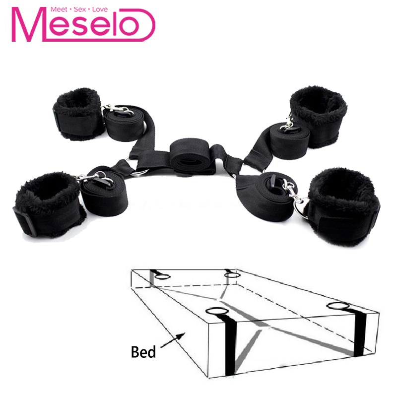 Meselo 1 <font><b>Set</b></font> bdsm <font><b>Bondage</b></font> Strap Plush Cuffs <font><b>Sex</b></font> <font><b>Toys</b></font> For Couple Flirting,Under Bed Harness Strap Wrists & Ankle Cuffs Adult Game image