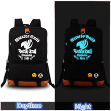2017 High Quality Anime Fairy Tail Luminous Printing Canvas Backpacks for Teenage Girls Laptop School Bags for Teenagers Mochila