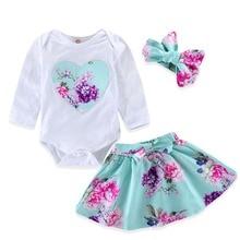 купить 2019 New Spring Baby Girl Clothes 3pcs Set Flower Print Long Sleeve Romper Tutu Skirt Headband Princess Dress Up Girls Clothes по цене 898.16 рублей