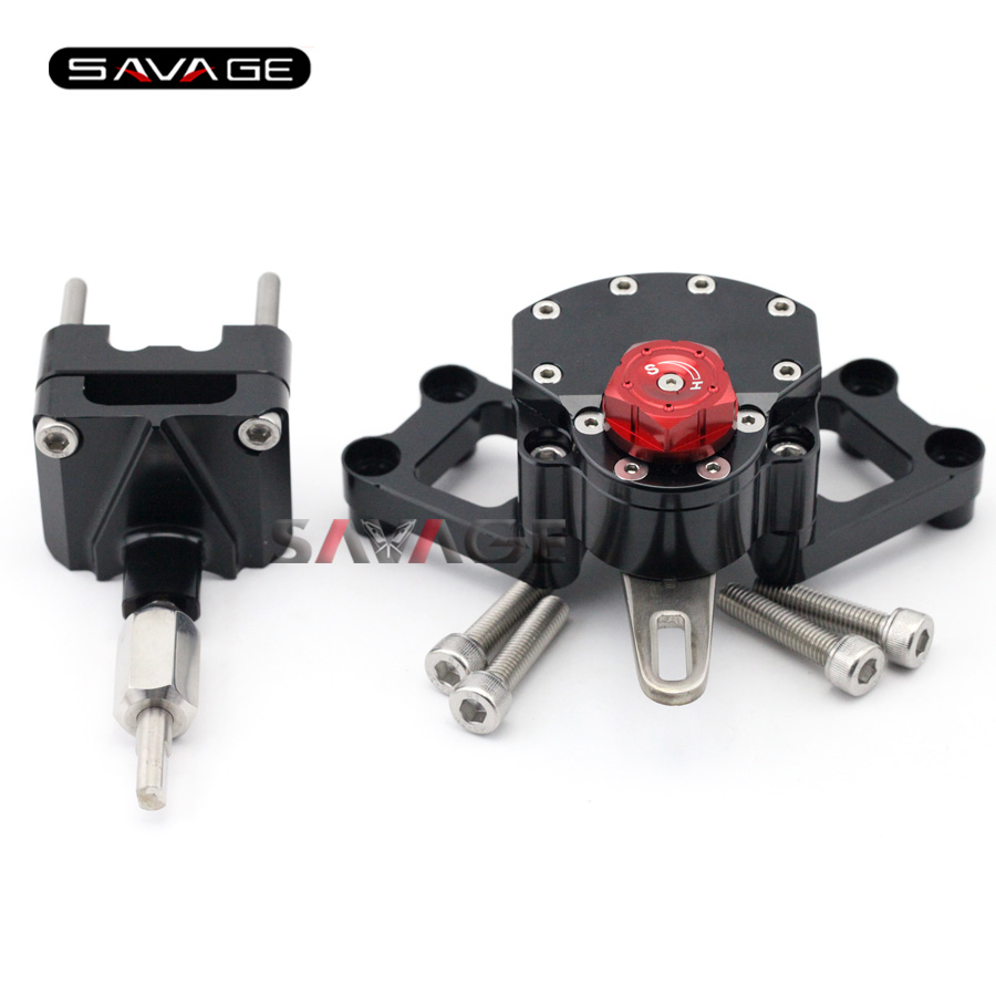 For KAWASAKI EX250 NINJA 250R/ 300 Black+Red Motorcycle Reversed Safety Adjustable Steering Damper Stabilizer with Mount Bracket