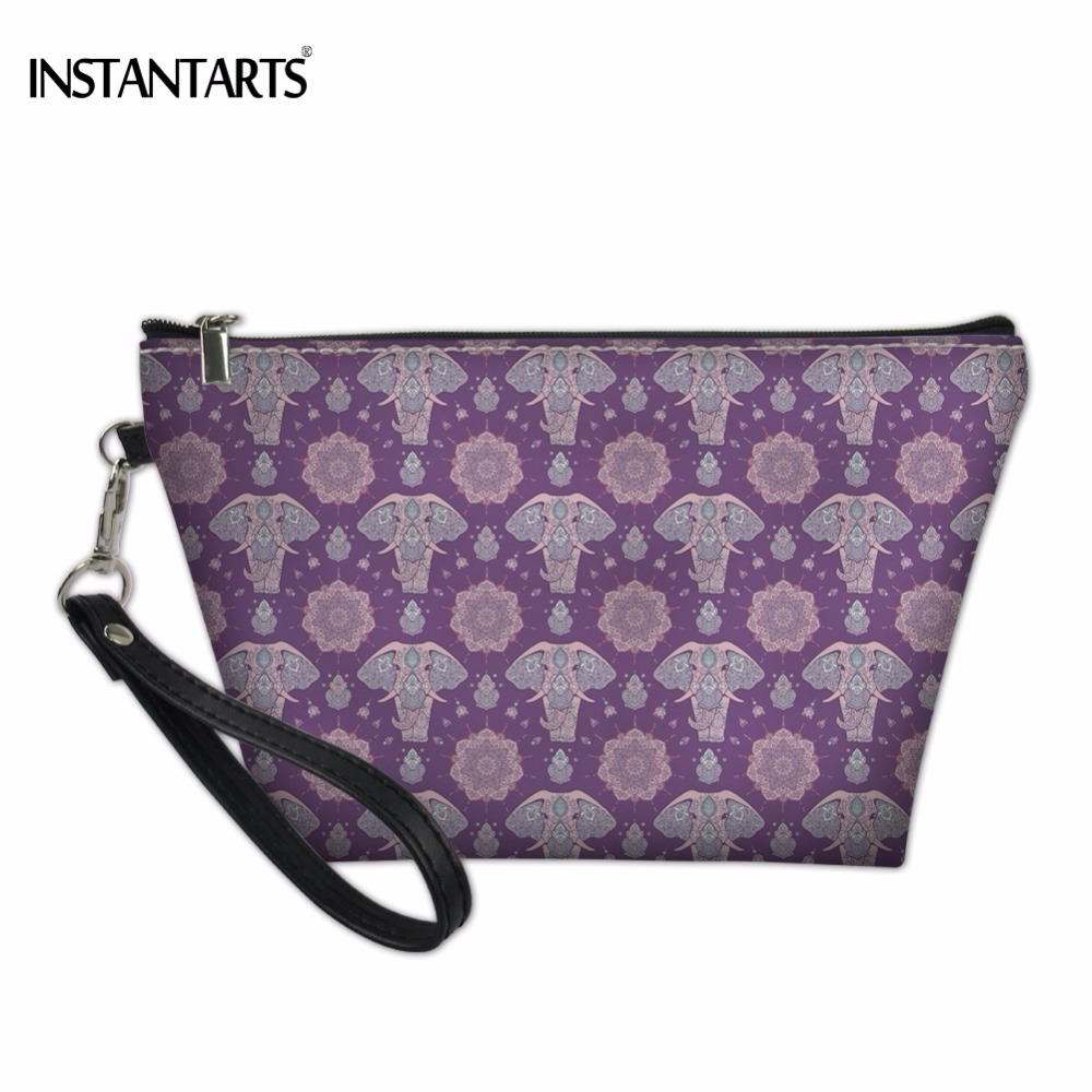 INSTANTARTS Cool Zen Elephant Pattern Woman Makeup Bag 2018 Fashion Brand Lady Cosmetic Case Travel Organizer Pouch Toiletry Bag