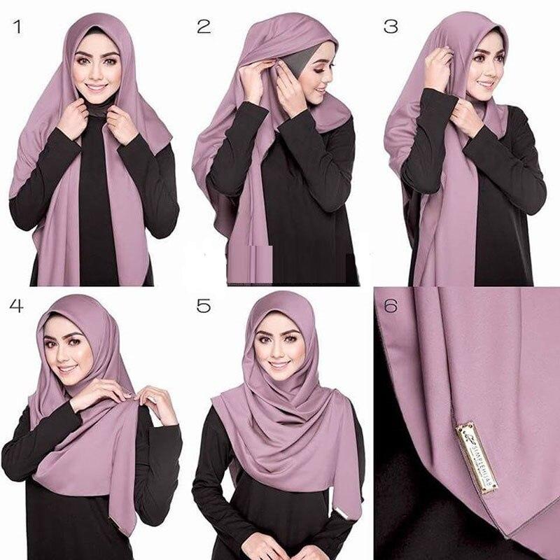 2020 Fashion Women Chiffon Headscarf Ready To Wear Instant Hijab Scarf Muslim Shawl Islamic Hijabs Arab Wrap Head Scarf Kopftuch
