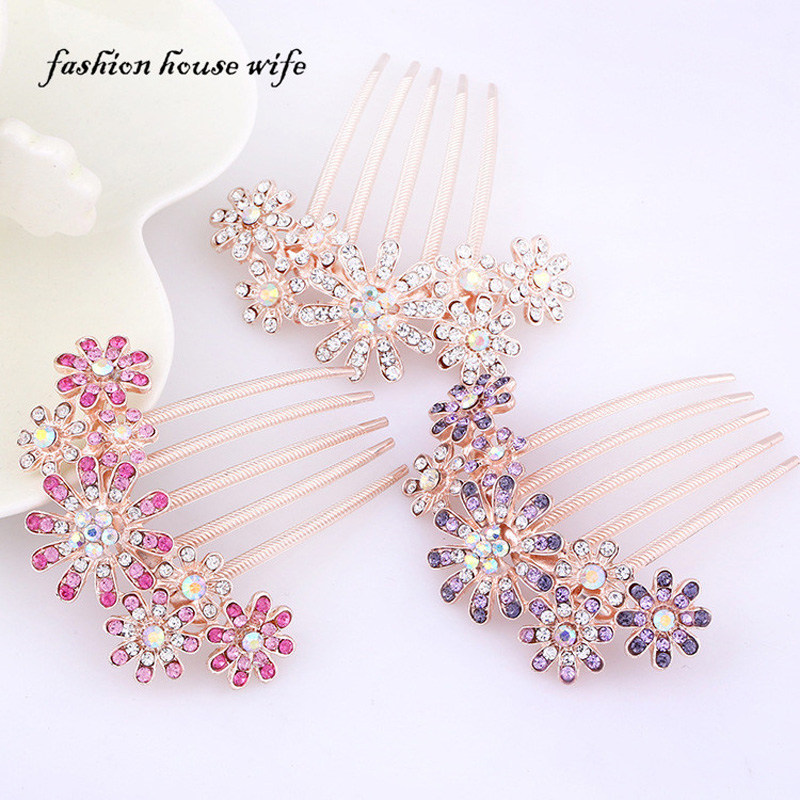 Sun Flower Five Tooth Combs Crystal Rhinestone Hairpin Bride Hair Plate For Women Kids Girl Wedding