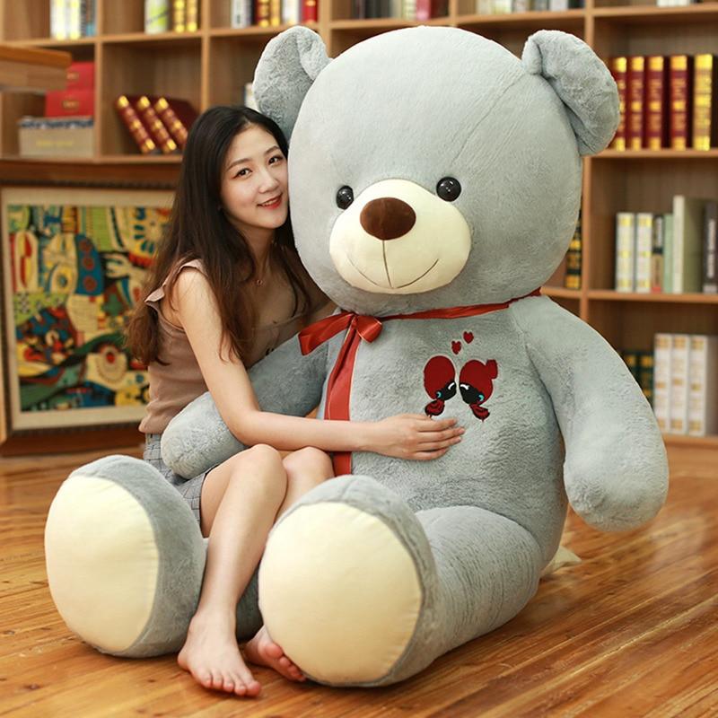 1 pc 60-100cm grande urso de pelúcia brinquedo adorável enorme pelúcia urso macio vestir bowknot urso crianças brinquedo presente de aniversário para namorada