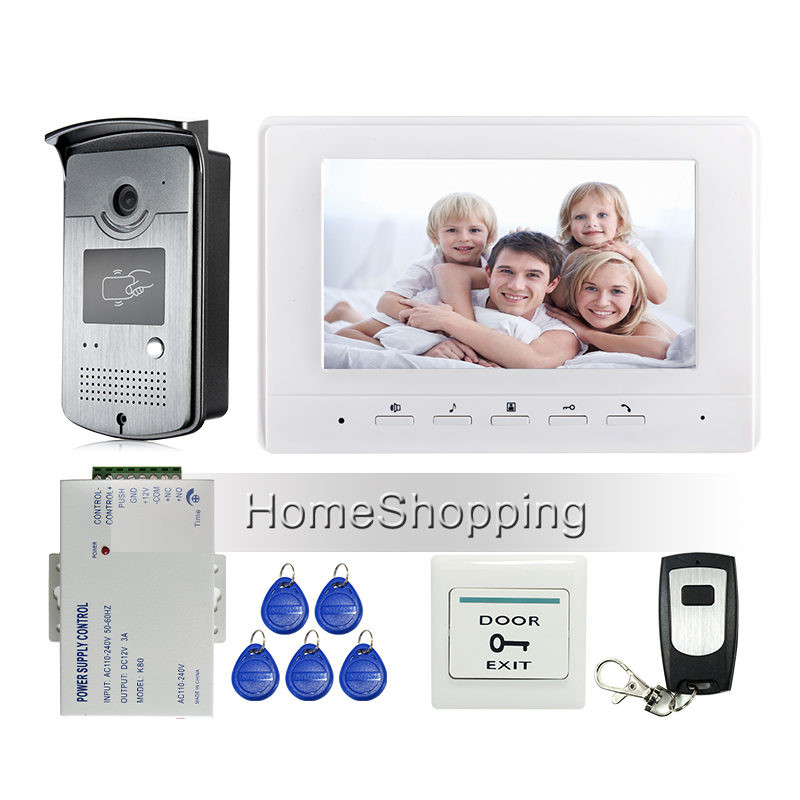 FREE SHIPPING BRAND New 7 Color Screen Video Door Phone Intercom System + 1 White Monitor + Outdoor RFID Reader Doorbell Camera brand new apartment intercom entry system 3 monitor 7 hd color video door phone doorbell intercom system 3 houses free shipping