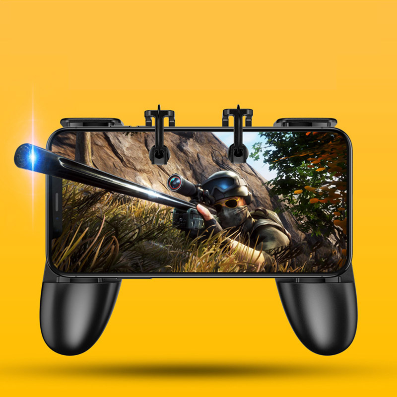 Image 2 - S12 Smart Phone Mobile Gaming Trigger PUBG Gamepad Controller L1R1 Shooter Trigger Fire Button Aim Key Joystick-in Gamepads from Consumer Electronics