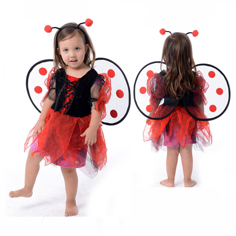 Baby Kids Cute Ladybug fairy Children's Day halloween costumes for kids girls dresses Fancy Masquerade Party Dragonfly Dance