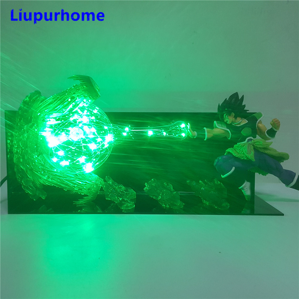 Dragon Ball Broly Vs Vegeta Led Night Light Dragon Ball Super Anime Figure Green Rock Base Table Lamp Lampara Dragon Ball Dbz Goods Of Every Description Are Available Led Night Lights