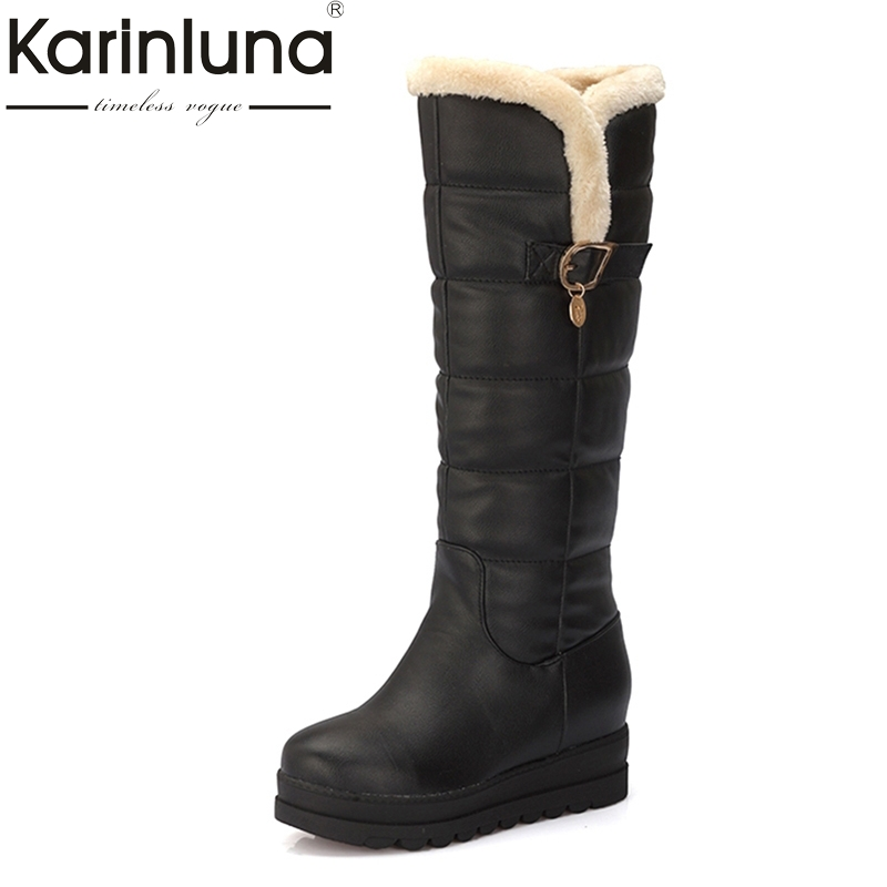 KARINLUNA Large size 33-43 Winter shoes women Warm Fur comfort black white Snow Boots Rubber Sole Upper Waterproof flat Platform karinluna women half knee snow boots rubber sole round toe platform warm fur shoes winter ladies footwear bootas mujer