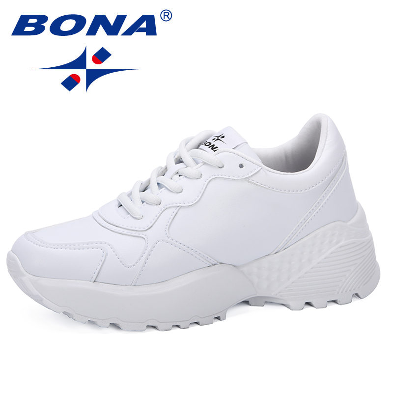 BONA 2019 Sneakers Woman Breathable Women Casual Shoes Vulcanize Female Lace Up Trendy Shoes High Leisure