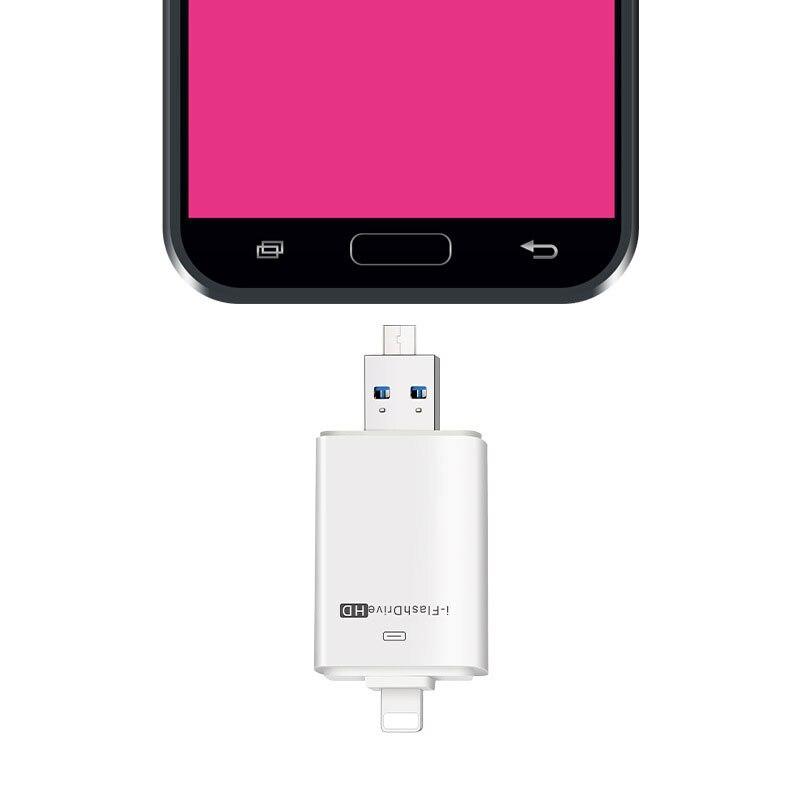 EASYA USB Flash Drive 16GB 32GB 64GB 128GB USB Stick 3-in-1 OTG for Lightning/USB 2.0/Micro USB Pen Drive for iPhone Phone PC pofan 2 in 1 64gb mobile lightning