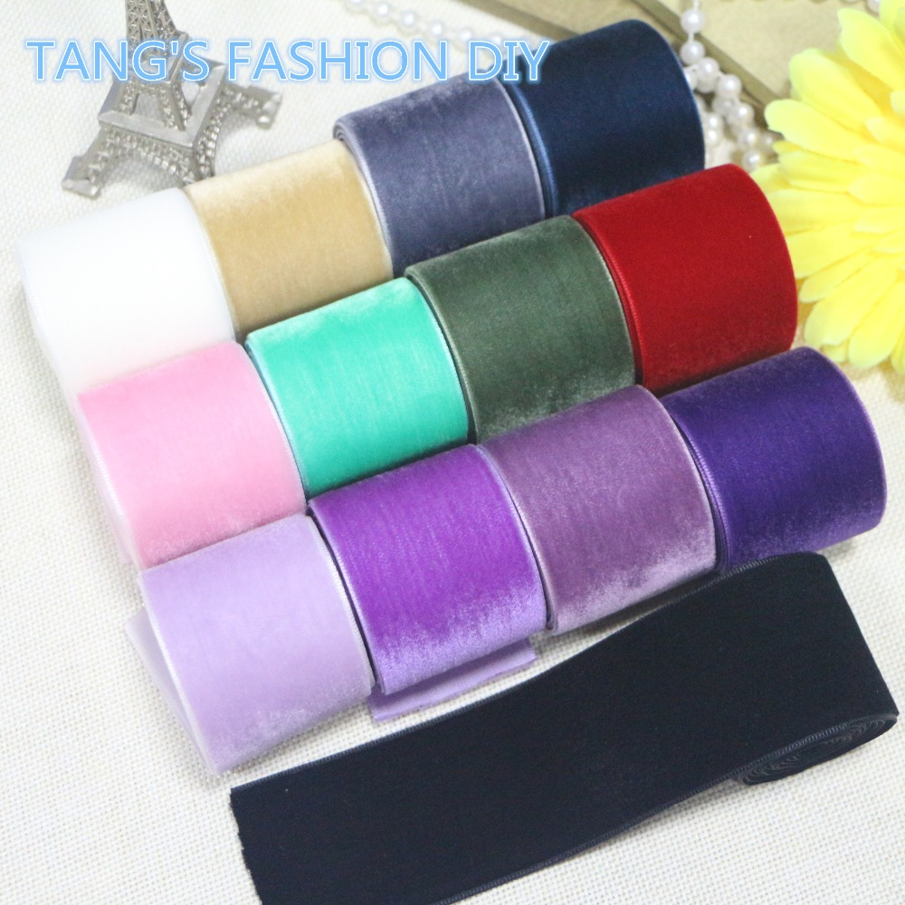 High Quality DIY 3.8 CM velvet ribbon 13 colors TOTAL 13 YARDS! CAN CHOOSE COLOR