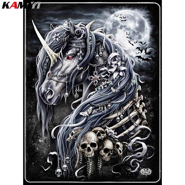 Diy алмаз вышивка черный конь череп алмазов картина вышивки крестом полный квадратный Стразы вышивка домашний декор