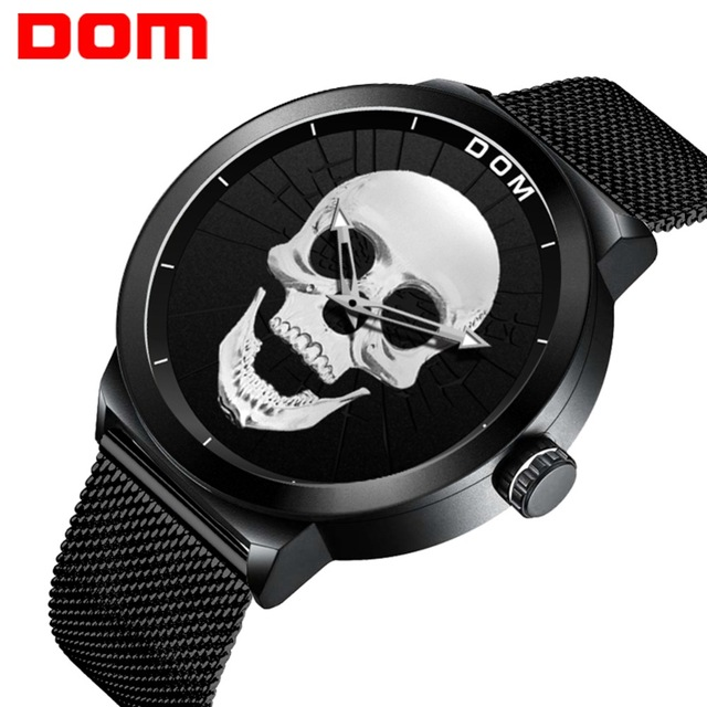 DOM Fashion Mens Watches Top Brand Luxury Quartz Watch Men Casual Slim Mesh Steel Waterproof Sport Watch Relogio Masculino