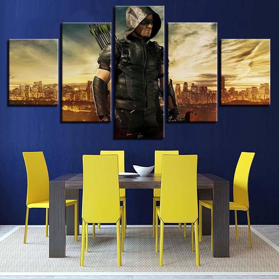 HD Printed Wall Art Home Decor Modern 5 Panel Movie Green Arrow Man ...