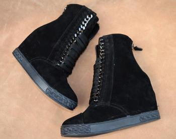 Fashion Black/navy blue suede wedge boots 8CM wedge heel height increasing metal chains lace up women ankle boots
