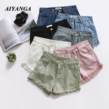 Shorts Women Candy Color 2019 Ladies High Waist Denim Button Fly Casual Cotton Jean Summer