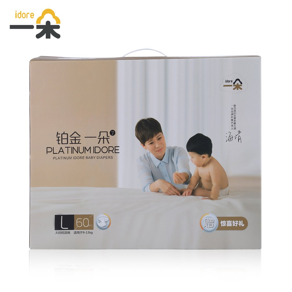 Diaper Idore Size L for 9-13kg 60 pcs Baby Diaper Disposable Nappies Leakproof Ultra-Thin Breathable Lasting Dry All Night New idore baby diapers ultra thin breathable disposable nappies diaper 3 size m l xl couches quick absorb diapers for children care