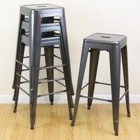 Топ современный Дизайн Табурет На высоком металлическом счетчик табурет 4 шт. барные стулья прочный кафе Лофт стул Портативный регистрации
