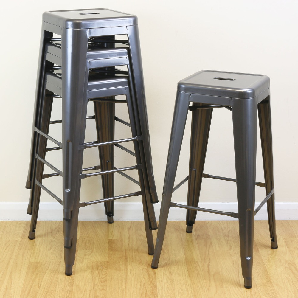 Top Modern Design Barstool Iron High Counter Stool 4 PCS Bar Chairs Durable Cafe Loft Stool Portable Front Desk Bar Chair modern design popular aluminum metal bar stool side stool bar chair cafe loft bar furniture high nice kitchen room counter stool
