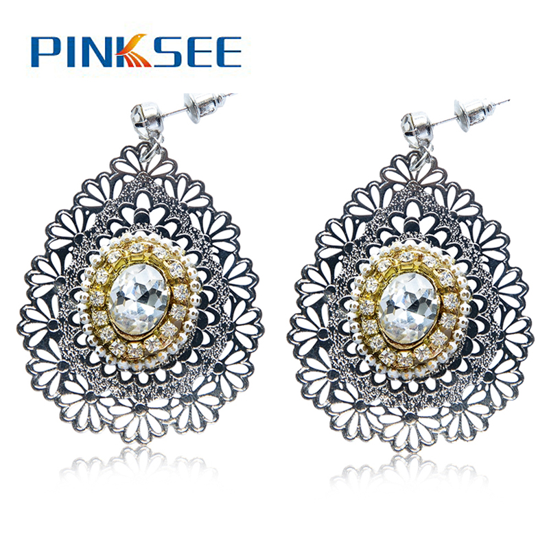 Retro Bohemian Earrings For Women New Fashion Golden Jewelry Crystal Rhinestone Flower S ...
